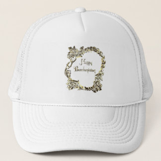 Happy Thanksgiving Typography Golden Turkey Trucker Hat