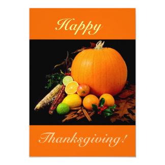 Happy Thanksgiving V With Pumpkin And Fruit Card
