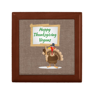 Happy Thanksgiving Vegans Turkey Country Burlap Gift Box