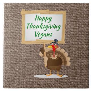 Happy Thanksgiving Vegans Turkey Country Burlap Tile