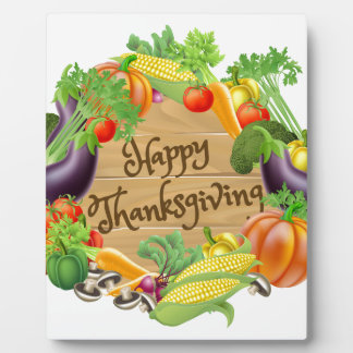 Happy Thanksgiving Vegetable and Fruits Design Plaque