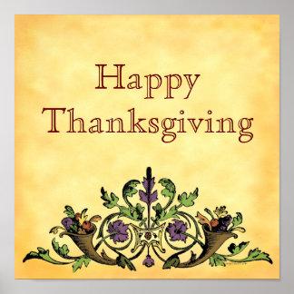 Happy Thanksgiving Vintage Cornucopia Art Poster