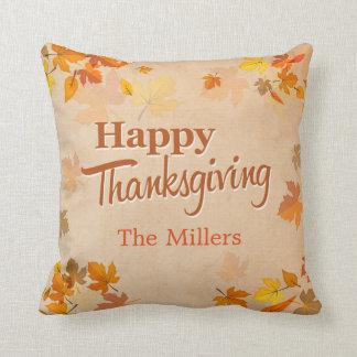 Happy Thanksgiving Vintage Rustic Autumn Leaves Throw Pillow