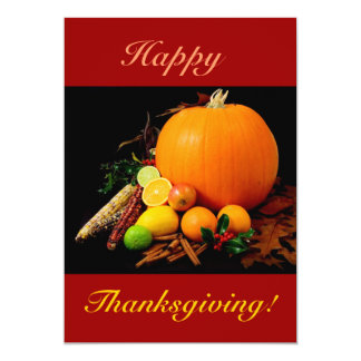 "Happy Thanksgiving With Pumpkin And Fruit II 5"" X 7"" Invitation Card"