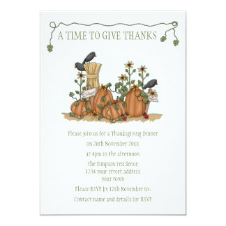 Happy Thanksgiving with Pumpkins and Crows Card