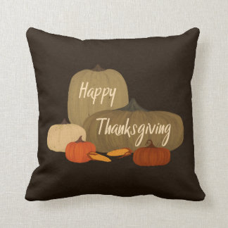 Happy Thanksgiving with Pumpkins Throw Pillow