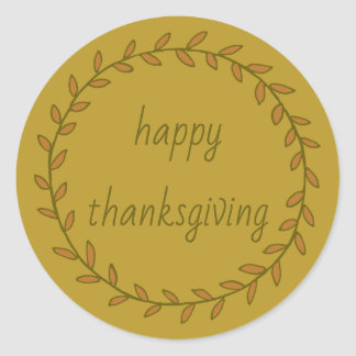Happy Thanksgiving Wreath on Gold Personalized Classic Round Sticker