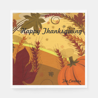 Happy Thanksgiving YOUR NAME Fall Colors Leaves Disposable Napkin