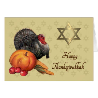 Happy  Thanksgivukkah Card -Turkey & Star of David