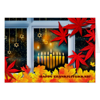 Happy Thanksgivukkah. Hanukkah and Thanksgiving Card