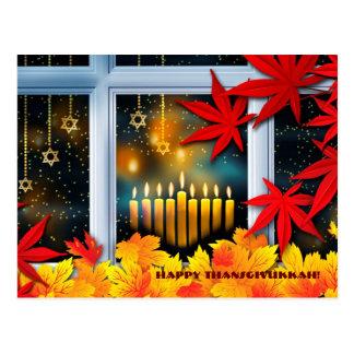 Happy Thanksgivukkah. Hanukkah and Thanksgiving Postcard