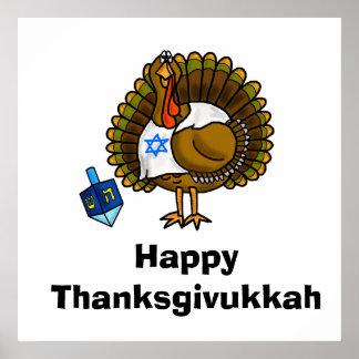 Happy Thanksgivukkah Jewish Turkey Poster