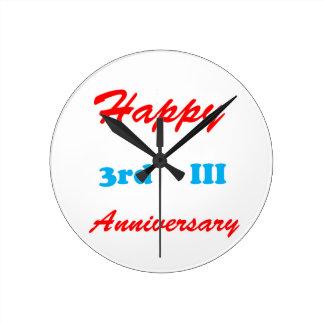 Happy THIRD 3rd III ANNIVERSARY Shirts RETURN GIFT Round Clock