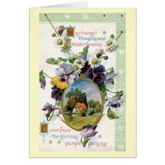 Happy Thoughts Tender Fancies 1915 Vintage Greeting Card
