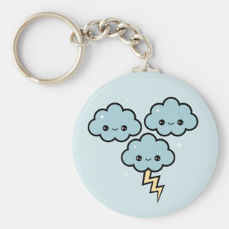 Happy Thunder Clouds Basic Round Button Keychain