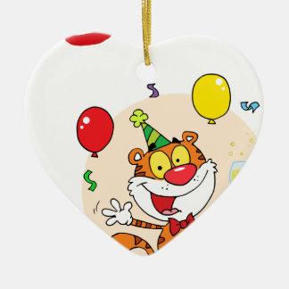 Happy Tiger In Party Ceramic Heart Ornament