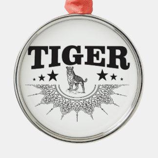 happy tiger metal ornament