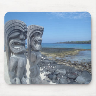 Happy tiki statue Hawaiian mousepad