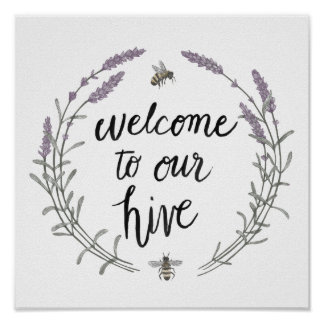 Happy to Bee Home Words II | Welcome to Our Hive Poster