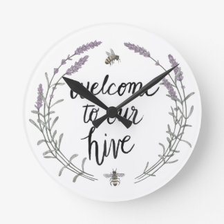 Happy to Bee Home Words II   Welcome to Our Hive Round Clock