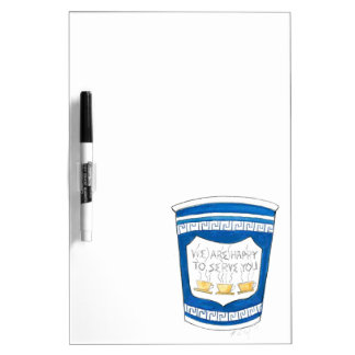 Happy To Serve You Blue Greek Coffee Cup Board Dry Erase Whiteboard