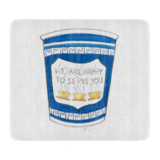 Happy To Serve You Greek Coffee Cup Cutting Board