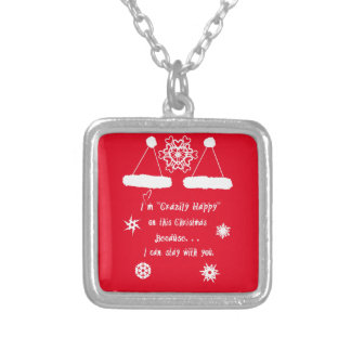 Happy Together Xmas Square Pendant Necklace