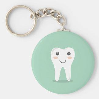 Happy Tooth cartoon dentist brushing toothbrush Basic Round Button Keychain