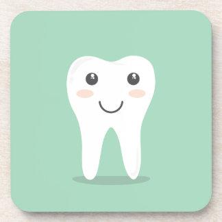 Happy Tooth cartoon dentist brushing toothbrush Beverage Coaster