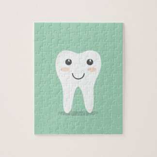 Happy Tooth cartoon dentist brushing toothbrush Jigsaw Puzzle