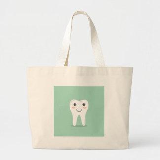 Happy Tooth cartoon dentist brushing toothbrush Large Tote Bag