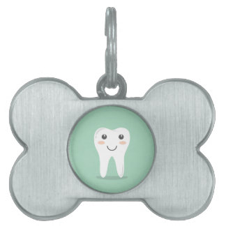 Happy Tooth cartoon dentist brushing toothbrush Pet Name Tags