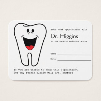 Happy Tooth Dentist Appointment Reminder Business Card