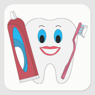 Happy Tooth Square Sticker