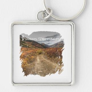 Happy Trail; Yukon Territory Souvenir Silver-Colored Square Keychain