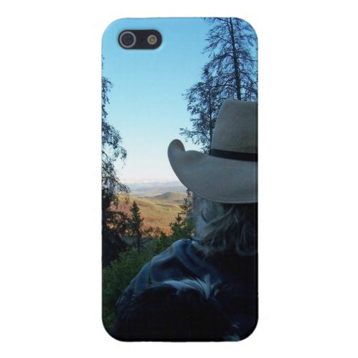 """Happy trails"" Cowboy and Mountains iPhone 5 Case"
