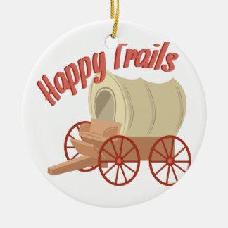 Happy Trails Round Ceramic Ornament