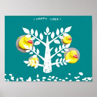 Happy Tree Yellow Duck Print