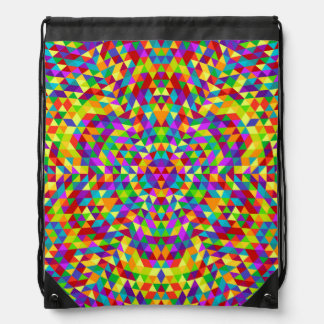 Happy triangle mandala 2 drawstring bag