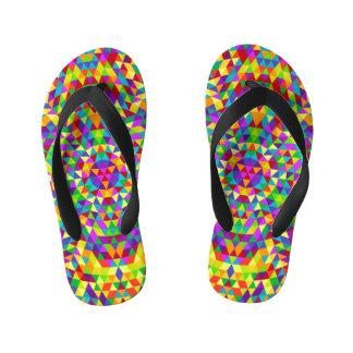Happy triangle mandala 2 kid's flip flops