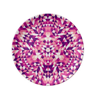 Happy triangle mandala porcelain plate