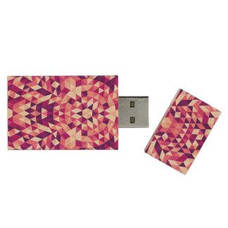 Happy triangle mandala wood USB 3.0 flash drive