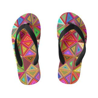 Happy triangle mosaic kid's flip flops