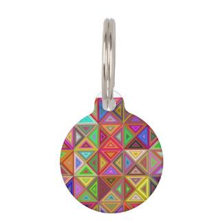 Happy triangle mosaic pet name tag