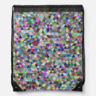 Happy triangle pattern drawstring bag