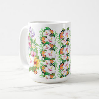 Happy Tropical Hibiscus Flowers Butterfly Mug