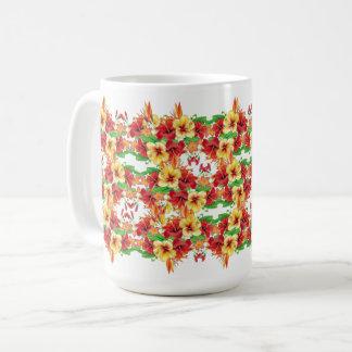 Happy Tropical Hibiscus Flowers Mug