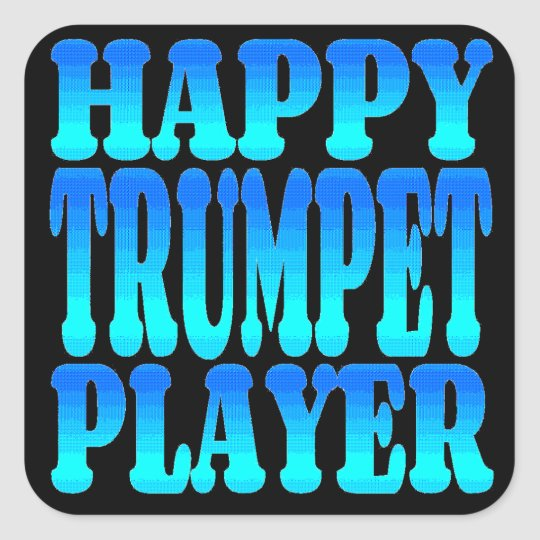 Happy Trumpet Player Square Sticker