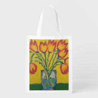 Happy Tulips Reusable Grocery Bag