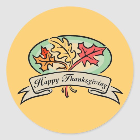 Happy Turkey Day Classic Round Sticker